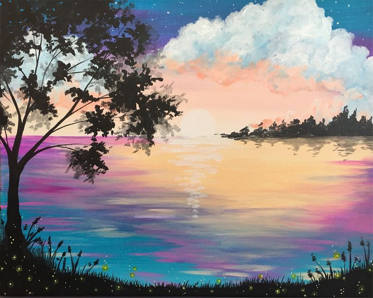 Grab a glass of wine, and come paint Firefly Lake at Pinot's Palette!