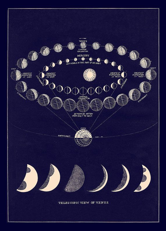 Antique Cosmos Print with Moon Art Phases and Views by Laurel Canyon Dreaming, SALE $55.00