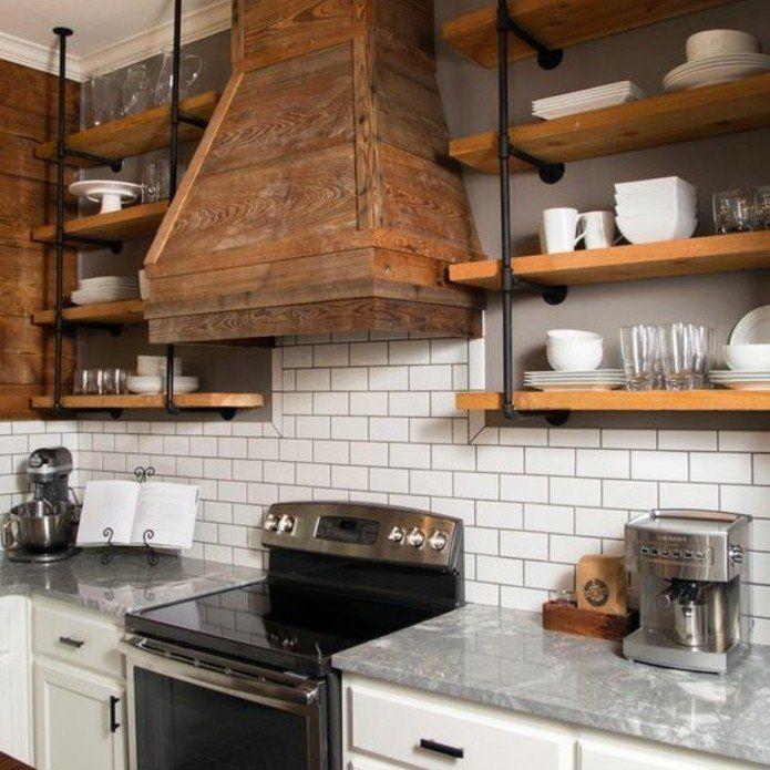 17 meilleures id es propos de etagere bois et metal sur for Etagere cuisine industrielle