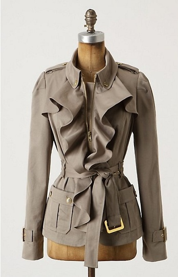 Military is back with a bang, and we are gushing over this amazing military coat! The feminine frills on the chest add that girlie touch to a strong, statement coat... LOVE!