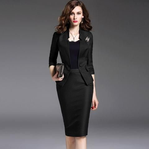 New Women's Skirt Suits Work Wear Spring and Autumn Long-sleeve Slim Suit + Package Hip Skirt Office Ladies Formal Wear Female - Hespirides Gifts - 1