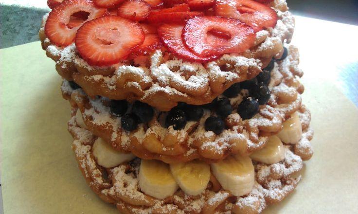 3Layer Funnel Cake- Cake. Blueberries, Banana And Strawberries. – Yelp – #3layer…