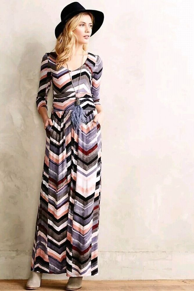 f6e3b56fd7dcc Maeve Anthropologie Womens Medium Novela Maxi Dress Chevron Long Sleeve # fashion #clothing #shoes #accessories #womensclothing #dresses (ebay link)