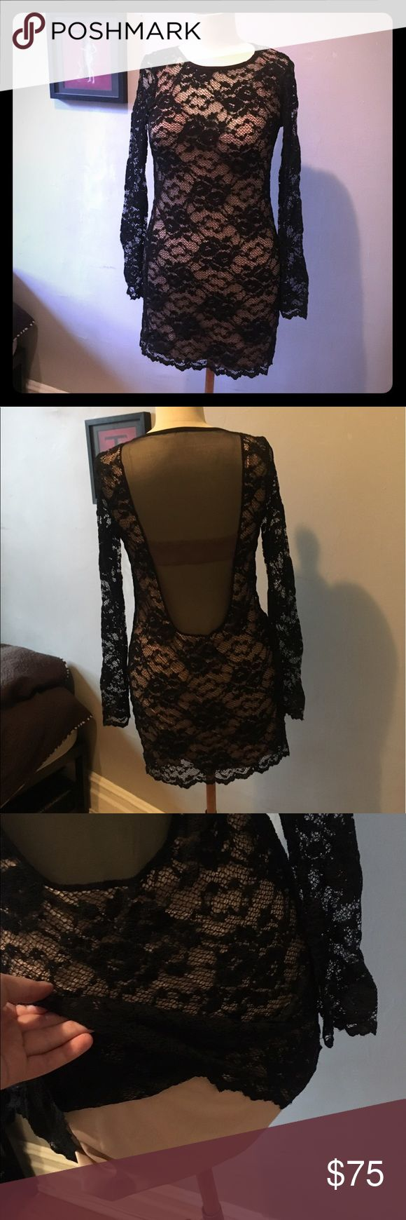 Sexy lace dress Vintage Britney Spears style. Black lace with a nude underdress and a see-through back. Never worn Dresses Backless