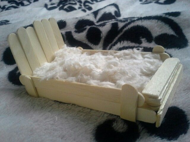 DIY hamster bed.  It is made out of popsicle sticks, and its filled with hamster bedding.
