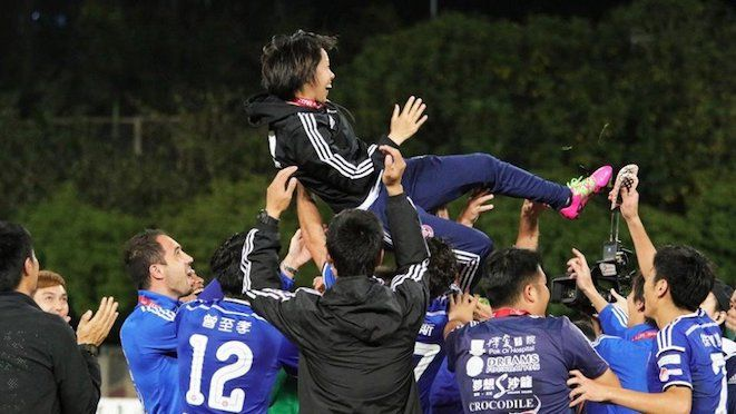 The premiers of the Hong Kong competition, the Eastern Sports Club, celebrates the occasion of the first woman coach to manage a team in the Asian Champions League competition ahead of kick-off v Guangzhou Evergrande. Unfortunately, they lost to the Luiz Felipe Scolari managed opposition, 7-0. 23.02.17