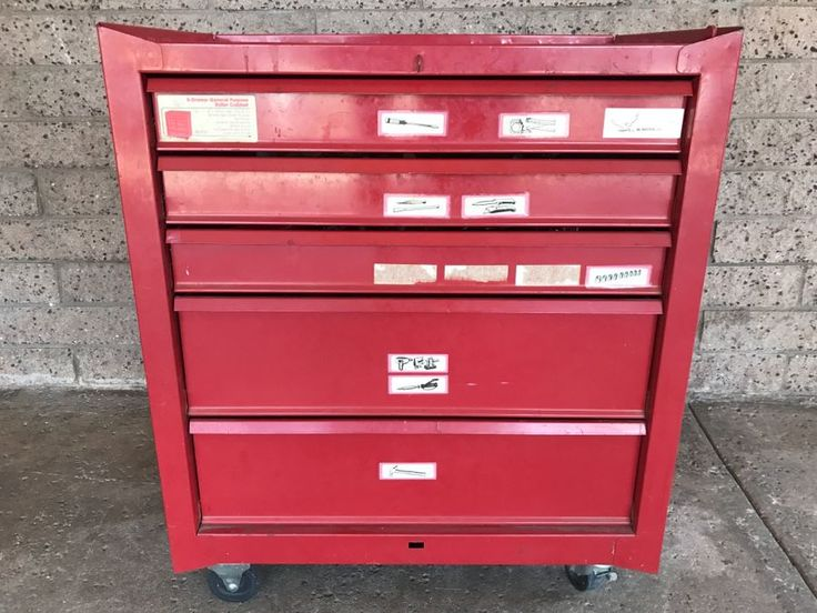 5-Drawer Roller Toolbox Cabinet Loaded With Tools Including Craftsman Sockets, Craftsman Wrenches, Screwdrivers, Knives, Chisels, Pliers, Power Tools - SEE ALL PHOTOS