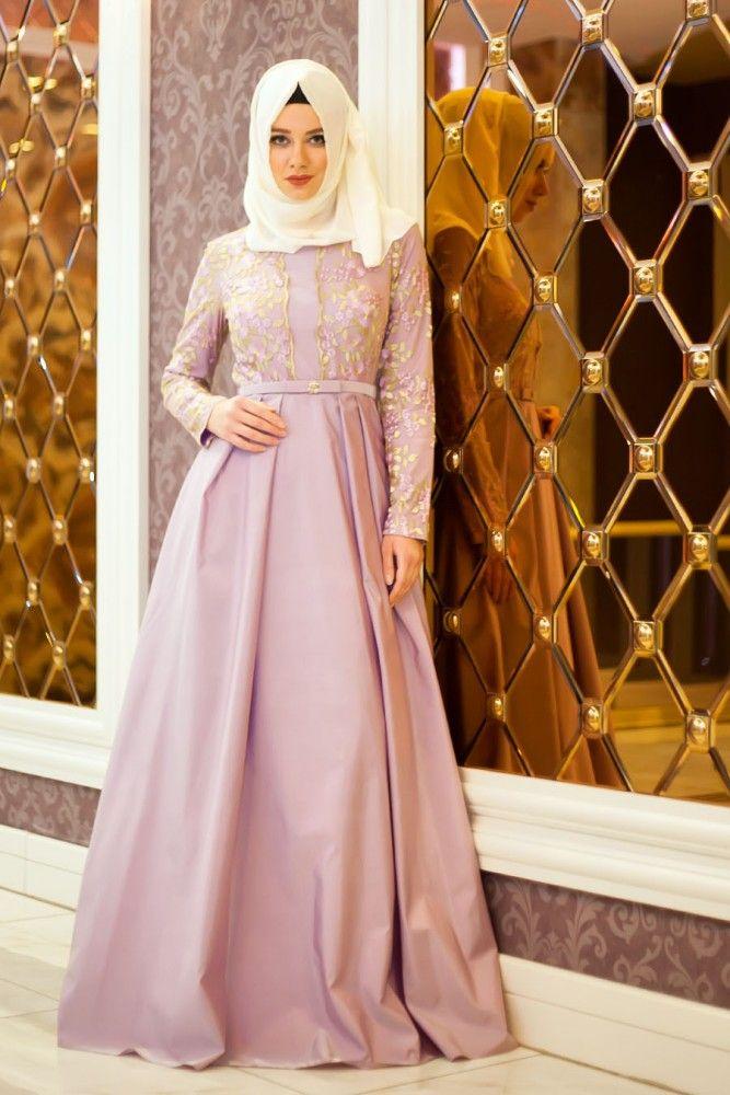 En modern Tesettürlü Abiye Elbise - Çiçek Dantelli Lila Tesettür Abiye 4258LILA , en uygun fiyatla 9 taksit ve kapıda ödeme seçeneği ile tesetturisland.com'da
