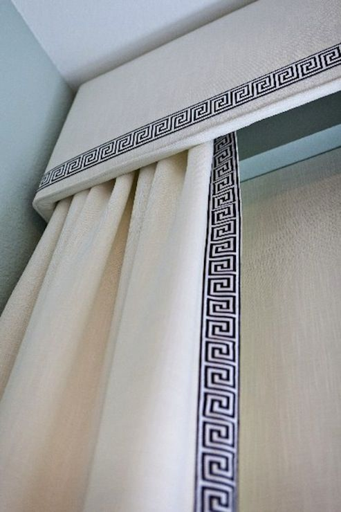 cornice box for drapery greek key pattern linen upholstry --- We can help you replicate this look!