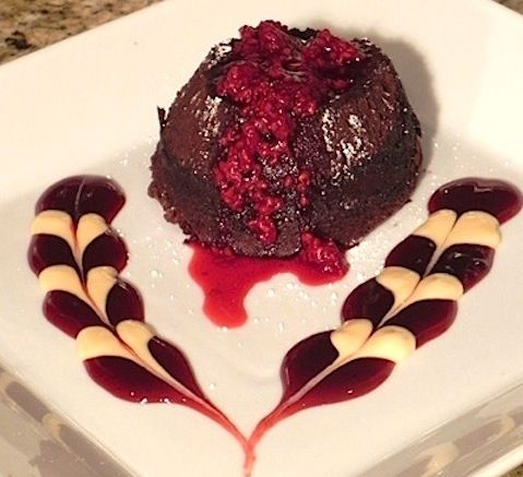 Molten Chocolate Lava Cake with Raspberry Sauce