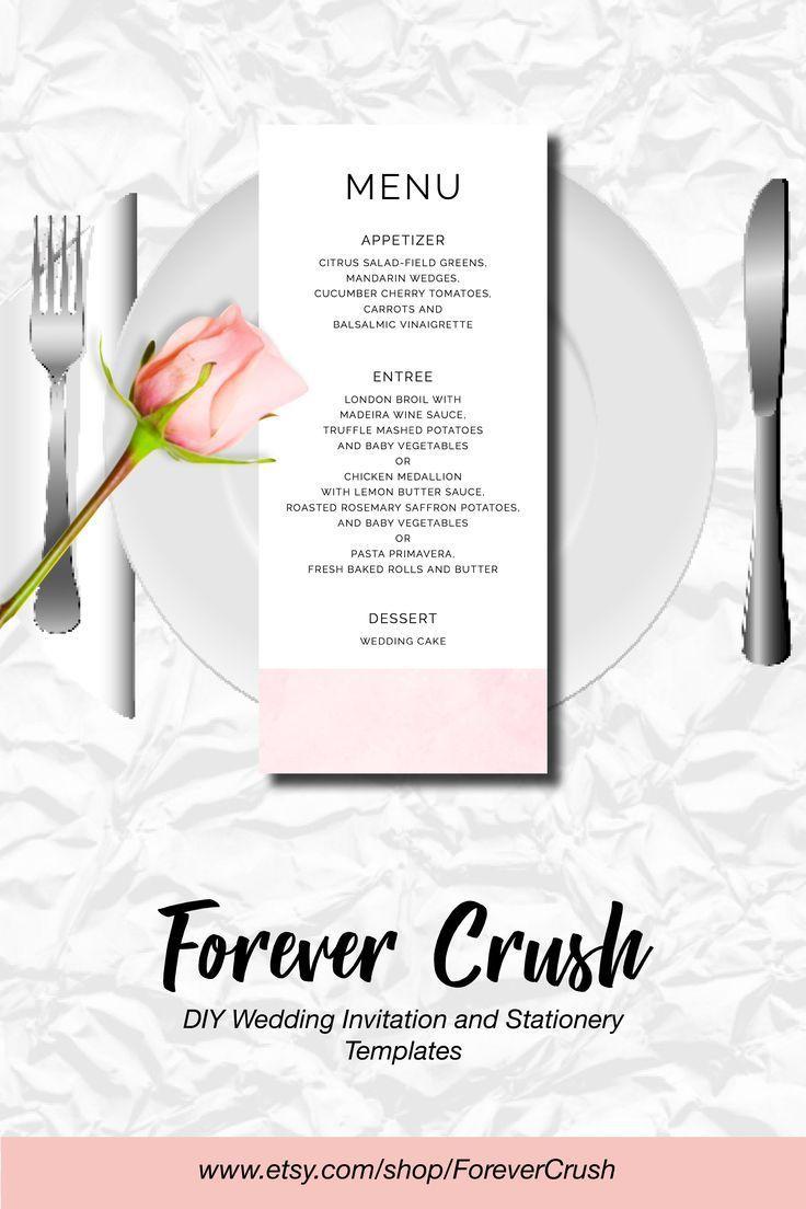 pink watercolor wedding menu cards custom wedding menu