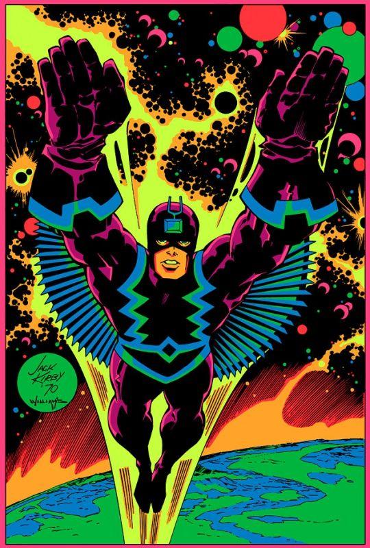 Black Bolt the Inhuman on a black light poster by Jack Kirby