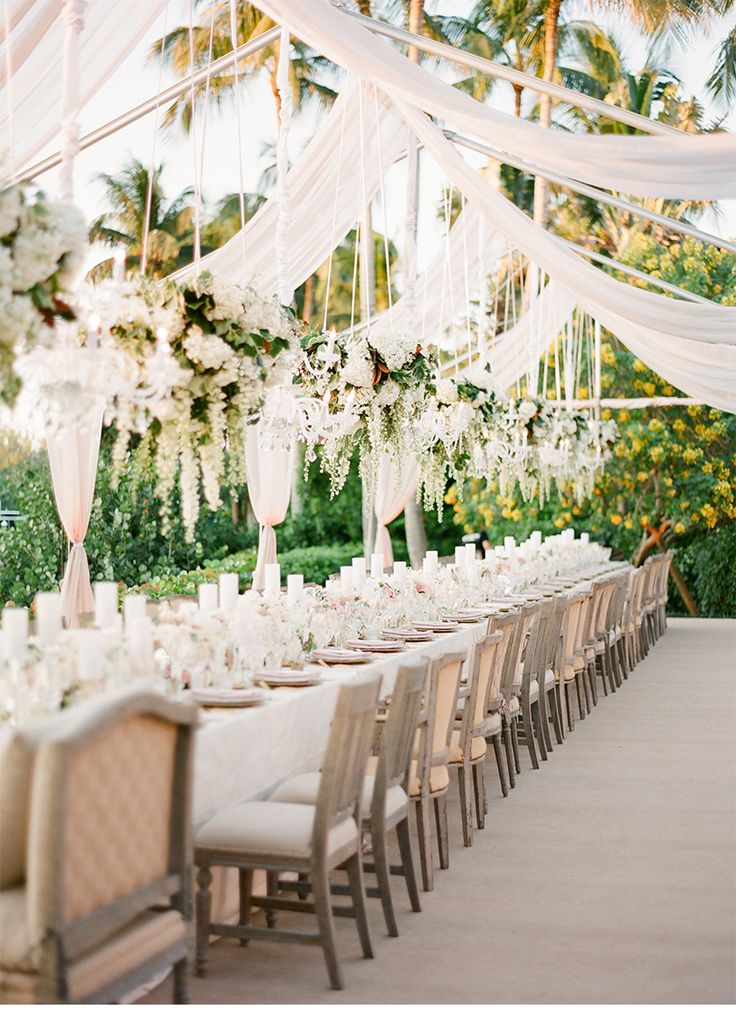 Tablescape | Green and Pink Wedding outdoor wedding reception with romantic draping and hanging centerpieces