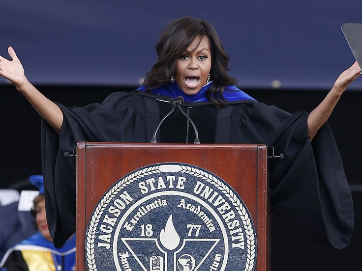 First lady Michelle Obama speaks about her husband, President Barack Obama and the criticism he has withstood during his two terms as she delivers the commencement address for Jackson State University's Class of 2016 at the Mississippi Veterans Memorial Stadium in Jackson, Miss., Saturday, April 23, 2016