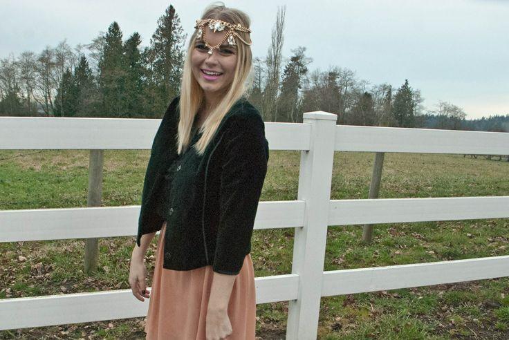 flowy skirt, velvet jacket, head piece