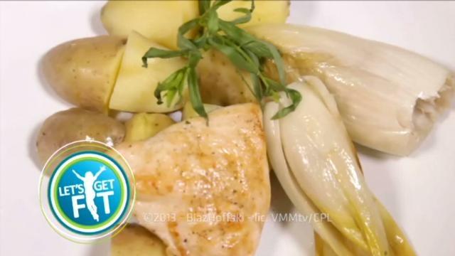 Kip met dragon, gestoofd witloof en aardappelen in de schil - Recept | VTM Koken