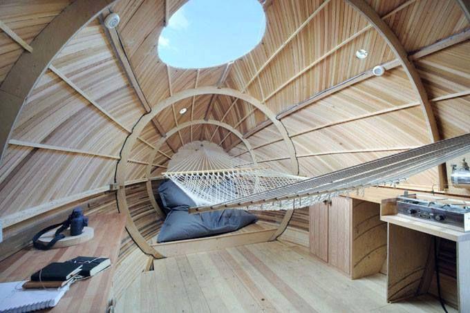 Casa galleggiante in legno architettura - gli interni