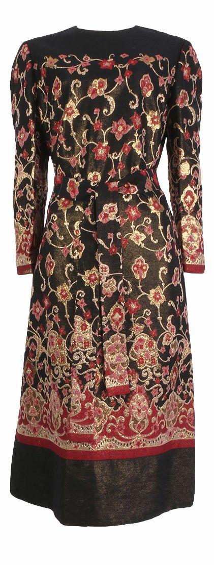 1960's Adele Simpson Black, Magenta & Gold Brocade Dress