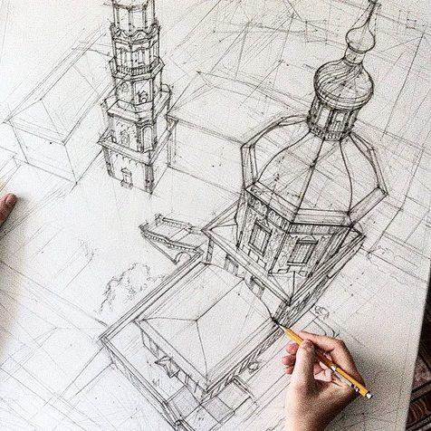 IHRE KUNST: Architekturzeichnung von Adelina Gareeva – Giannis