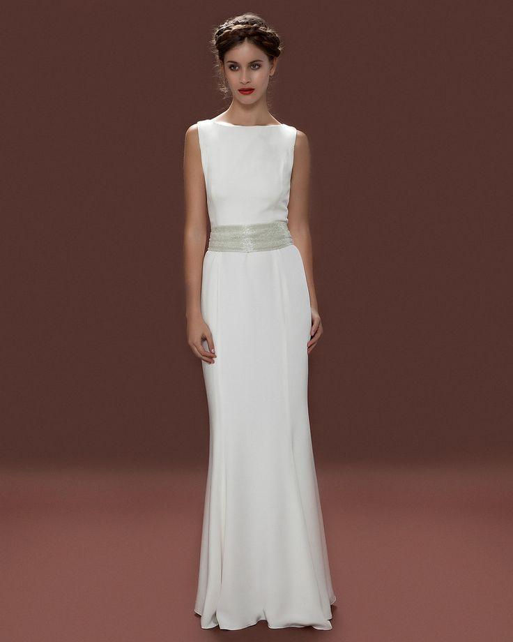 boat neck grecian wedding dress silk crepe beaded sash simple wedding dress 1940s wedding. Black Bedroom Furniture Sets. Home Design Ideas