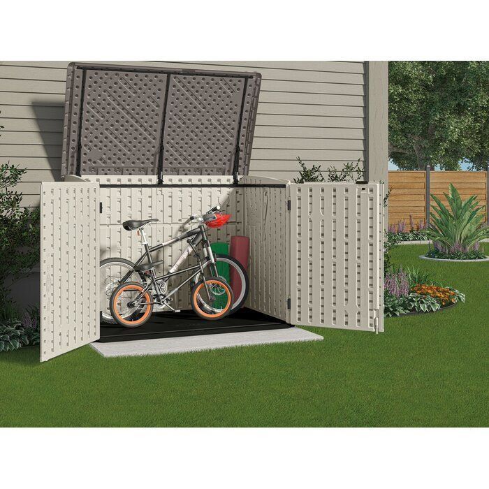 Resin Outdoor 2 Container 5 Ft 83 In W X 3 Ft 68 In D Plastic Horizontal Garbage Storage Shed Outdoor Bike Storage Outdoor Storage Sheds Diy Storage Shed