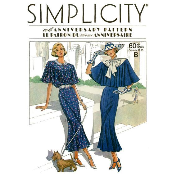 1920s Dress Pattern Simplicity 9360 Uncut Art Deco Capelet ...