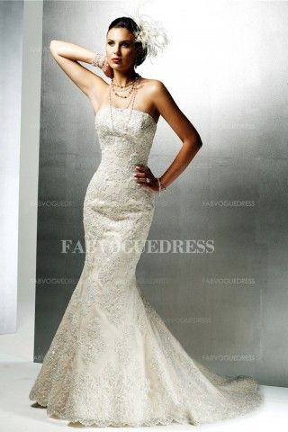 Simple Sexy Ivory Mermaid Trumpet Sleeveless Church Wedding Dresses With Lace