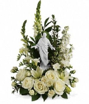 ☼ Garden of #Serenity_Bouquet ☼  This exquisite porcelain sculpture of Jesus surrounded by radiant flowers will be a source of comfort to loved ones during a time of loss. Your thoughtfulness will be long remembered.  For More Details Visit - http://flowersdeliveryhouston.com/houston-florist/occasions/sympathy-flowers/garden-of-serenity-bouquet
