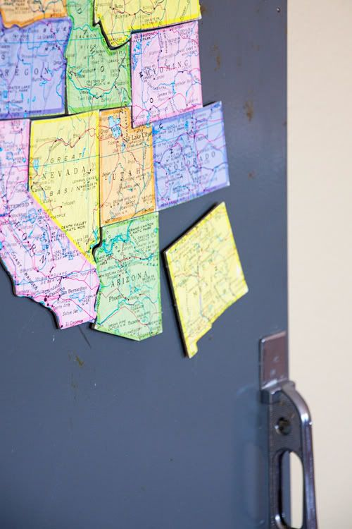 DIY map magnets. These were actually made from an old puzzle, but you can make your own by simply pasting an old map onto cardboard, cutting out, and adhering magnets to the reverse side. This is a great way to teach your kids geography!