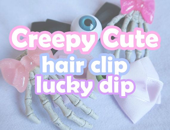 ♡ Creepy Cute hair clip lucky dip ♡ All hair clips included in this deal originally retail for £4.50 each! #pastelgoth #creepycute #spooky #eyeballs #skeleton #hand #pastel #goth #creepy #cute #jstyle #jfashion #harajuku #style #fashion #kpp