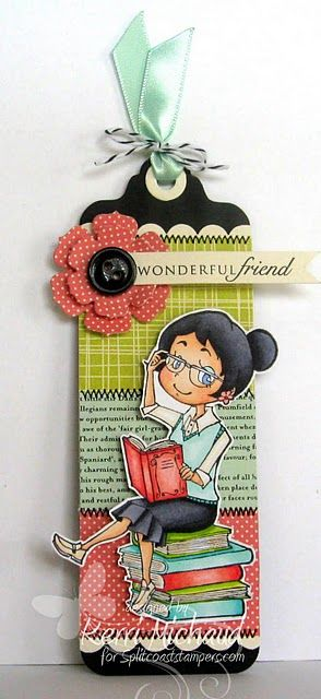 Cute book mark! Using papers, fabrics, button, illustrations... make combinations and choose a style or a characteristic for a friend