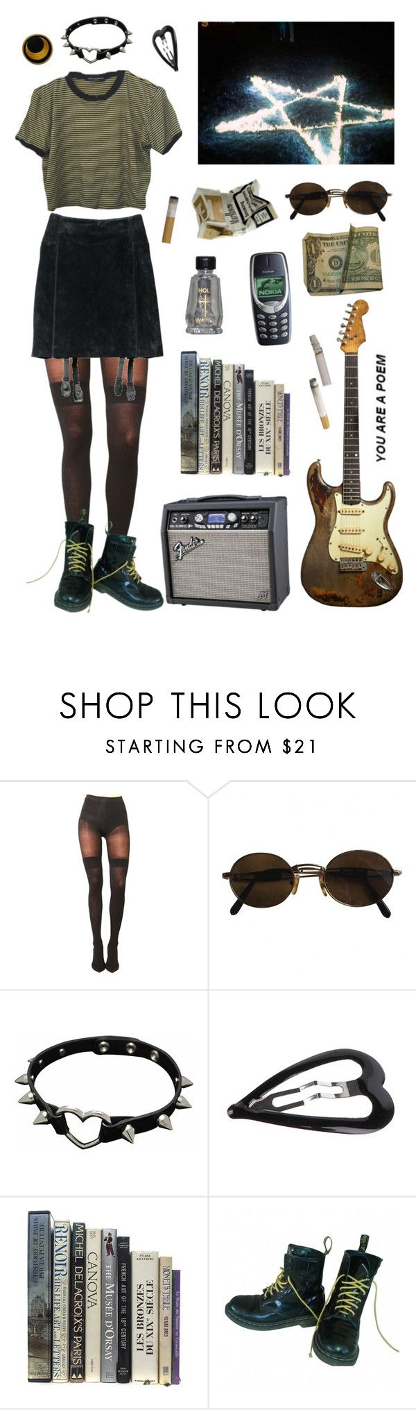 """Pentagram p o i s o n."" by aestheticgrunge ❤ liked on Polyvore featuring Pretty Polly, Moschino, H&M, Forever 21 and Dr. Martens"