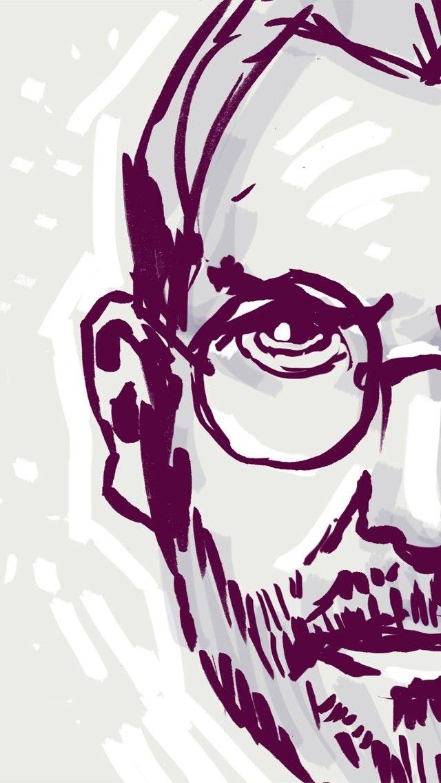 Steve Jobs Sketch Portrait 2018 Ios 11 Iphone X Wallpaper