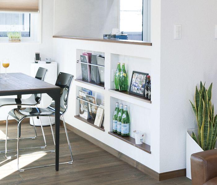 対面キッチン腰壁に設計したニッチマガジンラック のせ一級建築士