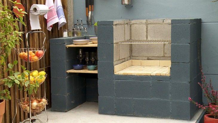 Asador hecho con bloques de concreto asadores for Bloques de cemento para jardin