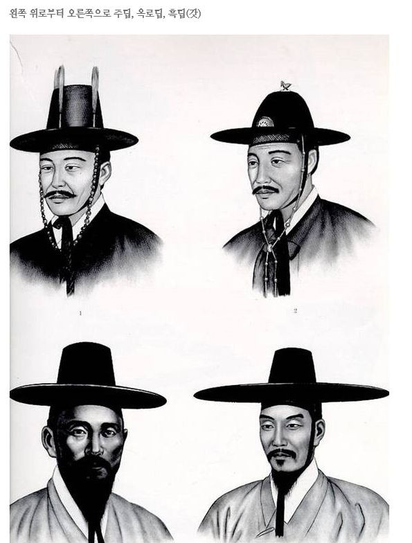 The gentlemen's hat (Gat; 갓) for the upper class in Chosun(조선=the ancient country in Korea), who is called as Yangban(양반). The rounded shade of this hat is larger than those for the middle class and the lower class.