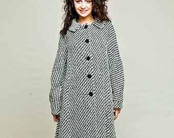 Womens black and white coat / womens winter coat / womens wool coat / monochrome coat / A-line coat with raglan sleeve