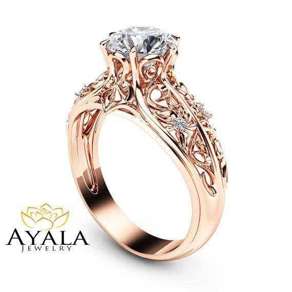 14K Rose Gold Engagement Ring Unique Engagement by AyalaDiamonds