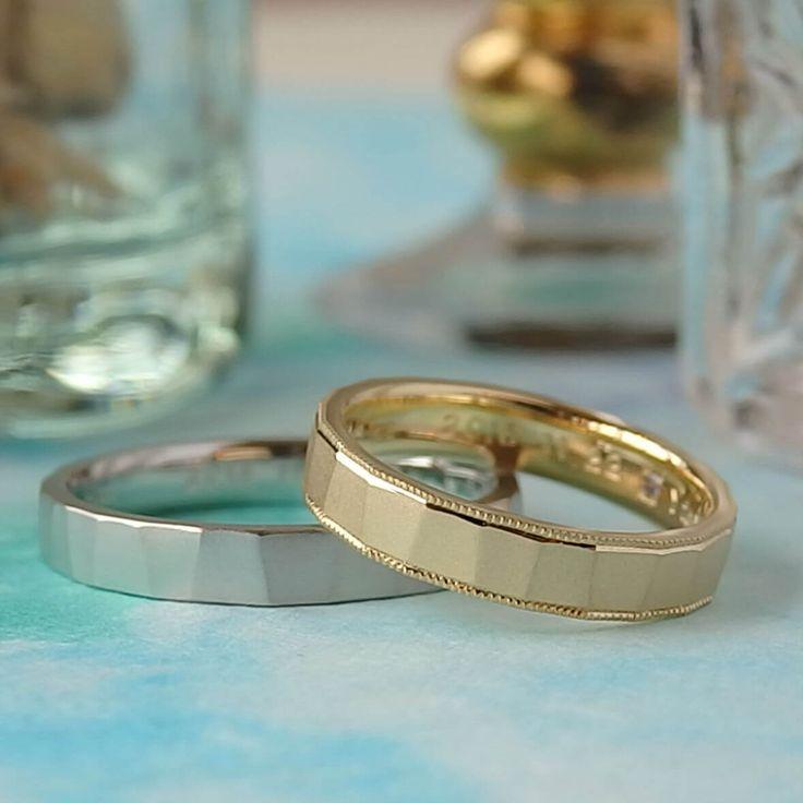 ミルグレインとイエローゴールドのお仕立てにより、幅広のリングが女性らしく華やかになり、男性のクールなプラチナのリングと素敵なペアになりました  [marriage,wedding,ring,bridal,K18,Pt900,マリッジリング,結婚指輪,オーダーメイド,コンビカラー,ウエディング,ith,イズマリッジ]