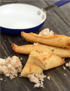 Coconut Rolls, succulent pancakes stuffed with a sweet and aromatic coconut filling are sealed and deep-fried till perfectly crisp.