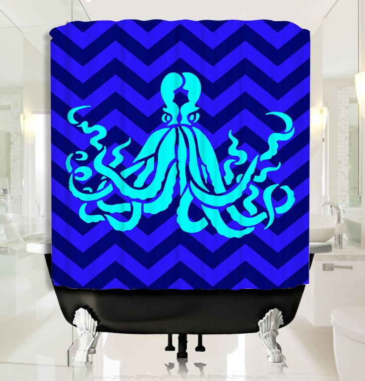 Cyan Octopus with Deep Blue Chevron Shower Curtain
