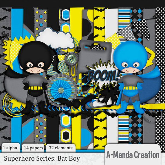 Bat Boy DIgital Scrapbooking kit includes 1 by AmandaCreation, $4.00