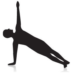 Side Plank Yoga Pose - Strengthens the wrist, abs, and legs.