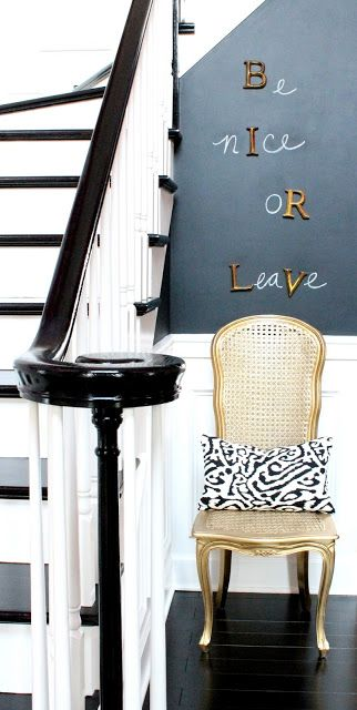 our fifth house: HOUSE TOUR - Chalkboard wall in entry foyer - Be Nice or Leave