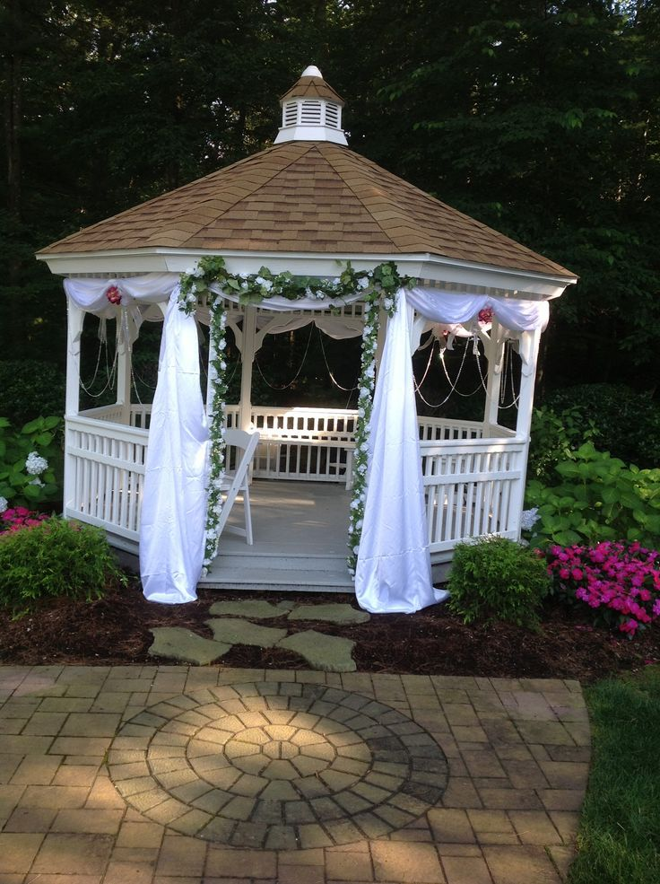 466 best images about a gardens gazebos on pinterest for Outdoor wedding gazebo decorating ideas