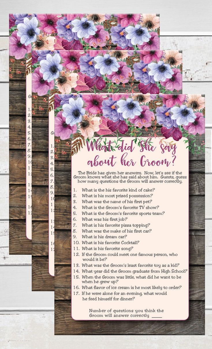 games to play at couples wedding shower%0A   What did she say about her Groom   is an instant download bridal shower game  with a rustic wood background and purple and pink This is a fun game