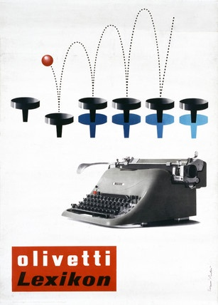 Olivetti Lexicon poster, by Giovanni Pintori (1912-1999). Colour offset lithograph on paper. Italy, 1953.