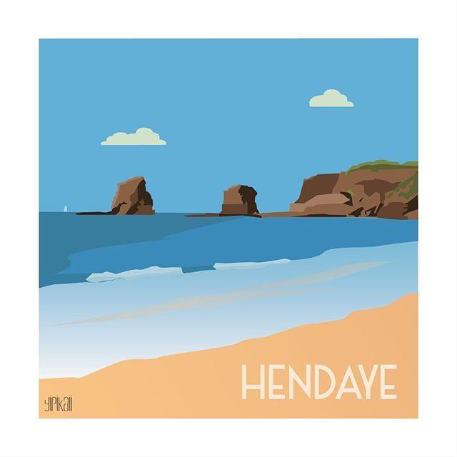 Le beau temps, le sable fin... vivement l'été !  #hendaye #mer #sea #illustration #beach #plage #paysbasque #yipikaii #yipikaiiillustration #blue #summer #ete