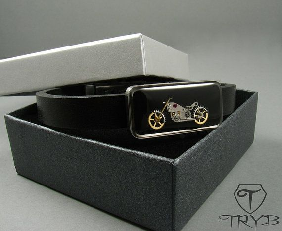 Motorcycle bracelet - surgical steel and natural leather.