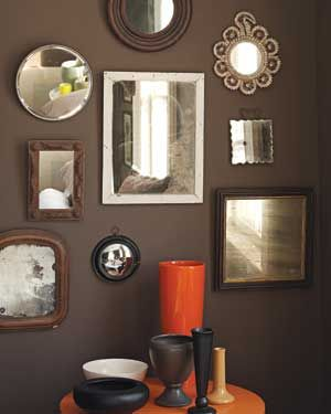 A grouping of ornamental mirror can have an especially dramatic effect on a dark wall.: Wall Colors, Brown Paintings, Mirror Mirror, Ornaments Mirror, Dark Brown Wall, Wall Of Mirror, Paintings Colors, Mirror Wall, Dark Wall
